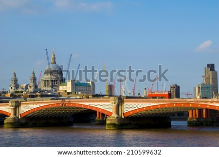 The view of St. Paul cathedral and its surroundings. - stock photo