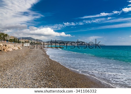 The View of Stony City Beach in Nice During Summer Day-Nice,French Riviera,France - stock photo