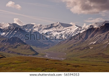 The view of Sunset Glacier to the South of Eileson Visitor Center in Denali National Park, Alaska. - stock photo