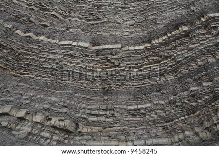 the view of the layers of the ground at quarry - stock photo