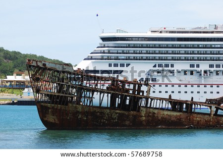 View Sunken Cargo Ship Cruise Liner Stock Photo - Cargo cruise ship