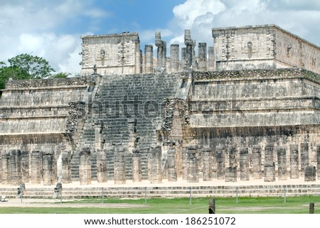 The view of the Temple of the Warriors colmns and stairs. Chichen Itza, Mexico - stock photo