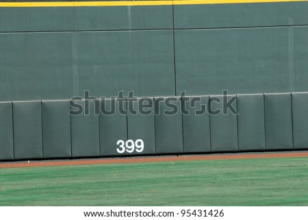 The view of the wall along a center field wall - stock photo