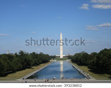 The view of the Washington Monument from the Lincoln Memorial in Washington, D.C. - stock photo