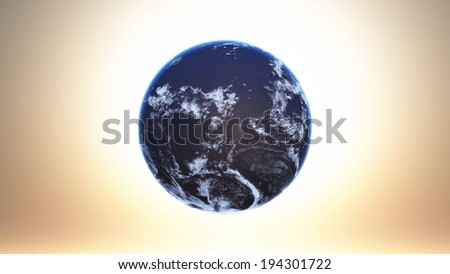 The view of the world in blue and white color. - stock photo