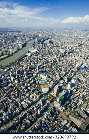 The view of Tokyo City from the top observation deck of Tokyo Skytree which is the tallest tower in the world.