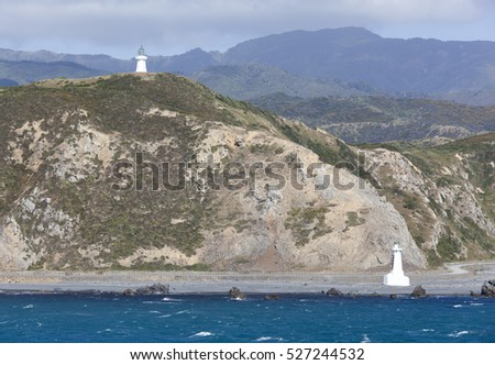 The view of two lighthouses of Pencarrow Head at the entrance to Wellington Harbour (New Zealand).