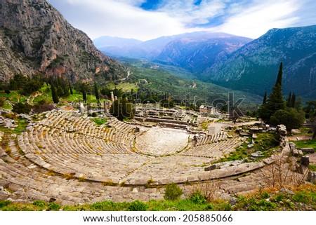The view on amphitheater, Delphi - stock photo