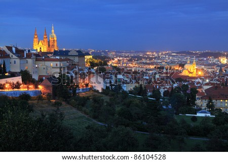 The View on bright Prague with gothic Castle in the Night, Czech Republic - stock photo
