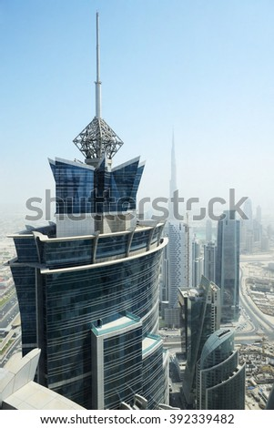 The view on Dubai cityscape, United Arab Emirates