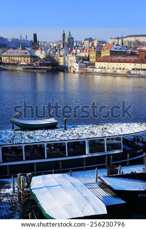 The View on snowy Prague St. Nicholas' Cathedral, Czech Republic - stock photo