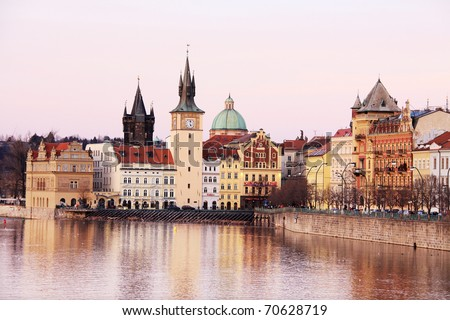 The View on the autumn Prague Old Town, Czech Republic - stock photo