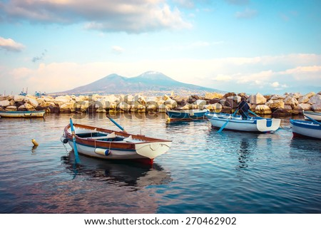 The view on the mount and volcano Vesuvius in evening in the Gulf of Naples, Italy - stock photo