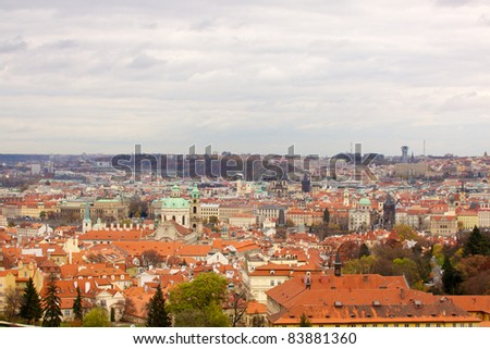 The View on the Prague's gothic Castle and Buildings Czhech, EU