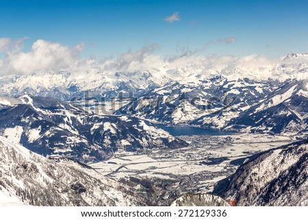 The view to the valley of Kaprun / Zell am See from the ski resorts of  Kitzsteinhorn gletcher - stock photo