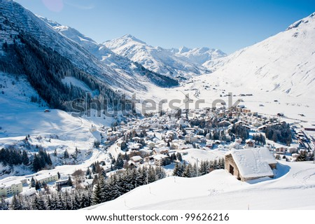 The village Andermatt in winter, Uri, Switzerland - stock photo