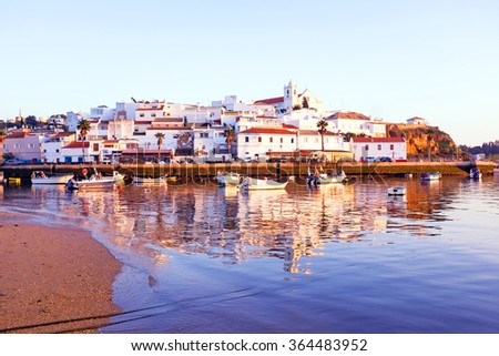 The village Ferragudo in the Algarve Portugal - stock photo