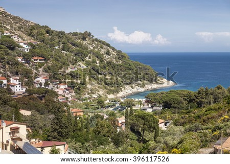 The village Fetofeia at the west coast of the island of Elba, Tuscany, Italy, Europe - stock photo