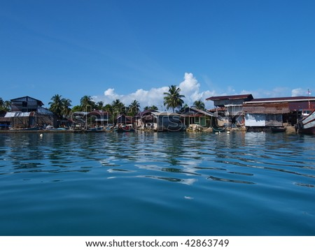 The village in Pulau Banyak, an island in Aceh, Sumatra, Indonesia - stock photo