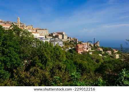 The village of Cervione, in Corsica, France - stock photo
