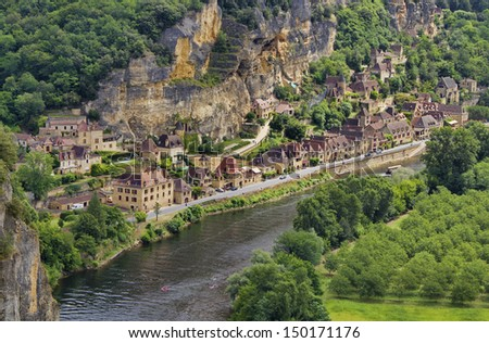 The Village of La Roque Gageac as Seen from the Gardens of Marqueyssac