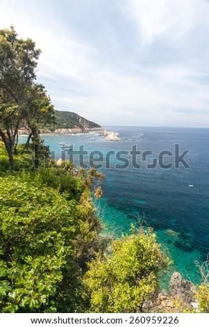 The village of Marciana Marina on Elba island. Coast in Tuscany, Italy - stock photo