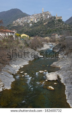 The village of Montalto Ligure situated on a hill in the Argentina Valley, Liguria.