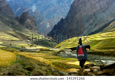 the village of Photoksar in the Himalayas - stock photo