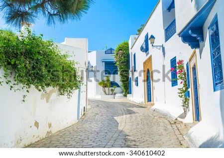 The village of Sidi Bou Said is the perfect place to spend vacation, Tunisia. - stock photo