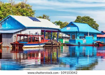 The village on the water. Tonle sap lake. Cambodia - stock photo