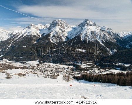 The village Scuol in Swiss Alps