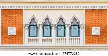 The vintage exterior design in European style of retro building - stock photo