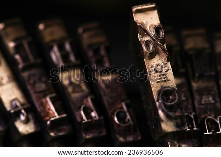The Vintage Typewriter percent mark character or letter macro style - stock photo