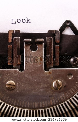 The Vintage Typewriter some word macro style - stock photo