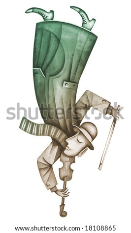 The violinist plays on a violin. Illustration by Eugene Ivanov. - stock photo