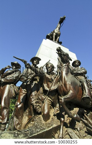 The Virginia Memorial on Seminary Ridge. Robert E. Lee and Traveler top the monument - stock photo