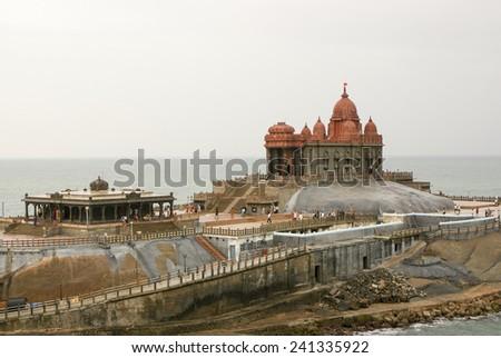 The Vivekananda Memorial in Kanyakumari, India. - stock photo