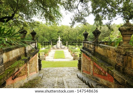 The Vizcaya Museum and Gardens, is the former villa and estate of businessman James Deering, of the Deering McCormick-Internati onal Harvester fortune, on Biscayne Bay in Coconut Grove, Miami, Florida - stock photo