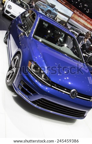 The 2016 Volkswagen Golf at The North American International Auto Show January 13, 2015 in Detroit, Michigan. - stock photo