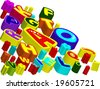 The volumetric elements to your design. Colored letters - stock photo