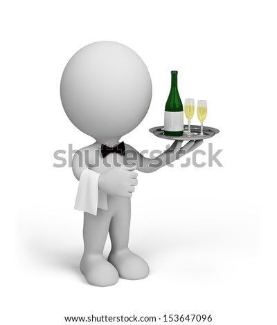 The waiter fills the order. 3D image. White background. - stock photo