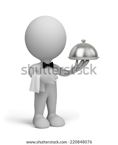The waiter serves clients. 3d image. White background. - stock photo