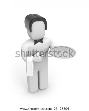 The waiter with flat round plate - stock photo