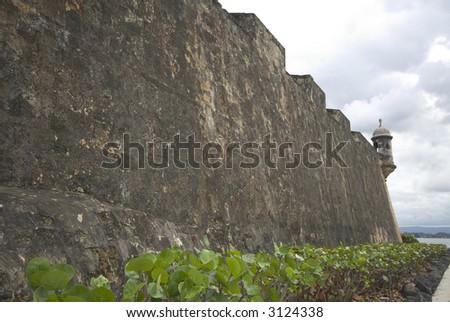 the wall el morro sentry box lookout old san juan, puerto rico - stock photo