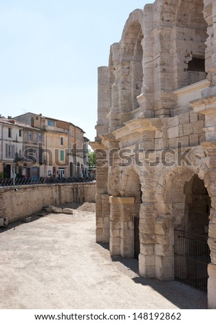 the wall of Arles Amphitheatre with many arches is a great example of roman architecture