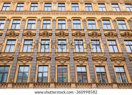 the wall of Art Nouveau architecture style of Riga, Latvia - stock photo
