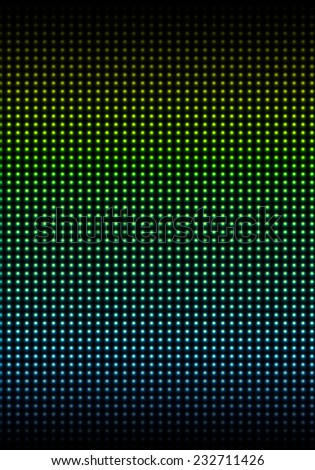 The wall of glowing bulbs gradient-colored from blue to yellow - stock photo