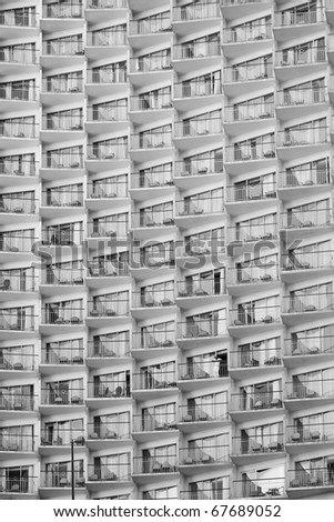 The wall of the balconies - stock photo