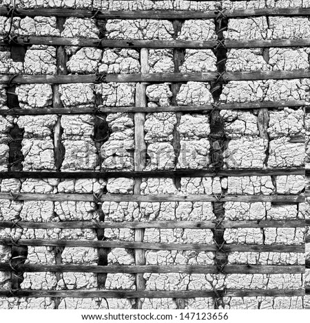 The wall of traditional Indian homes in Gran Sabana - Venezuela, Latin America (black and white)