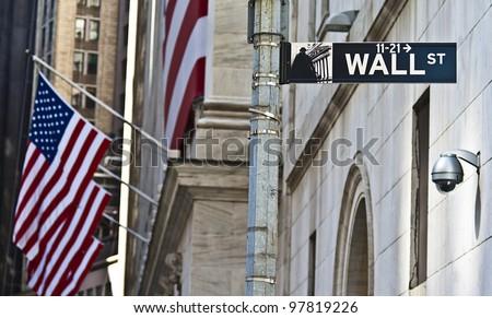The Wall Street in Manhattan, New York. - stock photo
